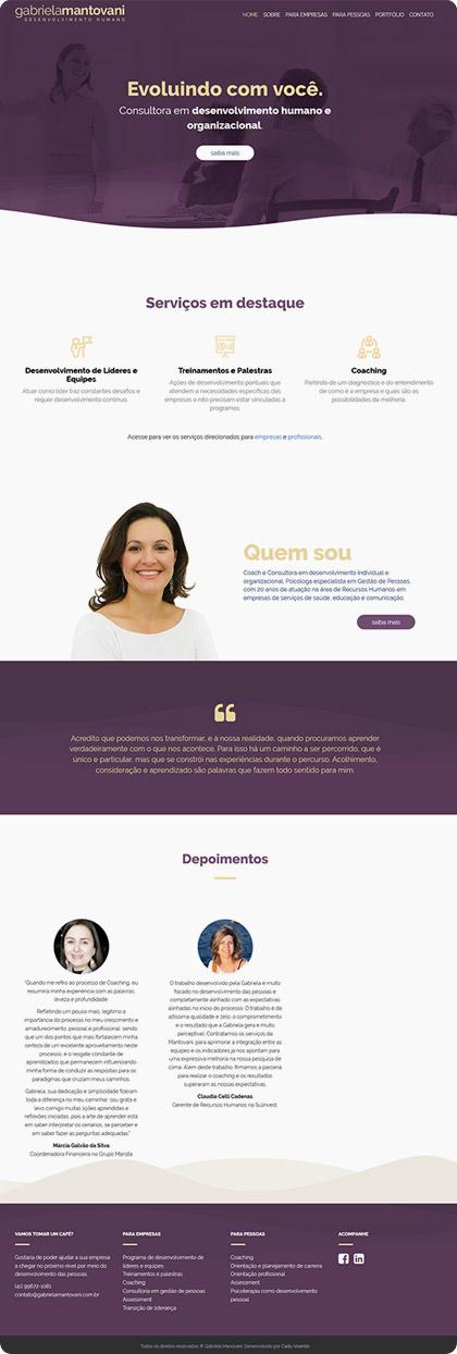 Criação de site para Gabriela Mantovani