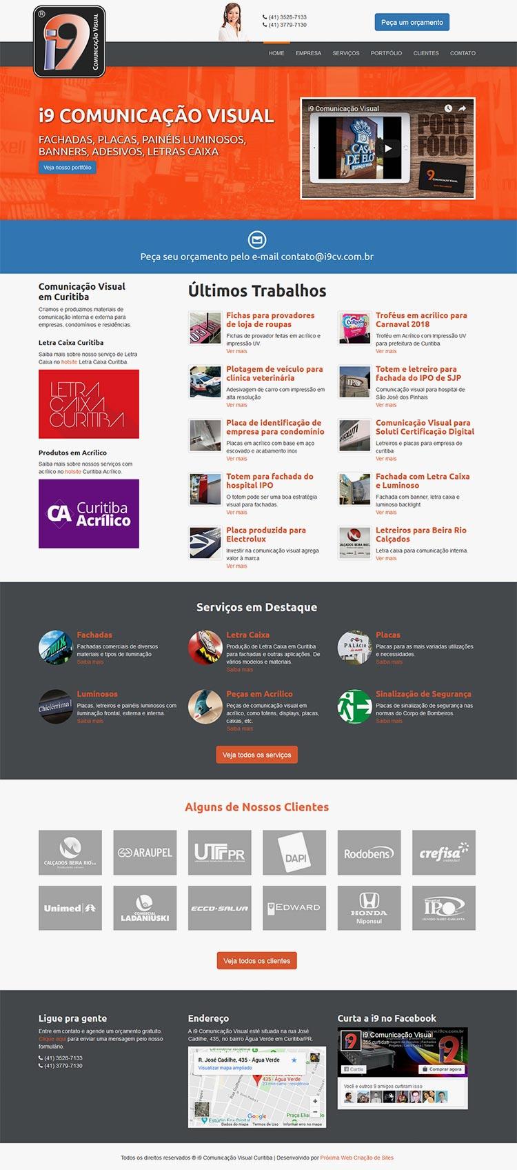 Criação de Site para i9 Comunicação Visual